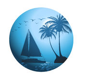 Summer background with palm trees and a yacht Stock Photo