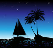 Summer background with palm trees and a yacht Royalty Free Stock Photos