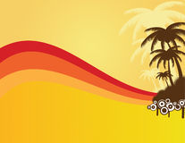 Summer background with palms. Beautiful summer frame with palms Stock Illustration