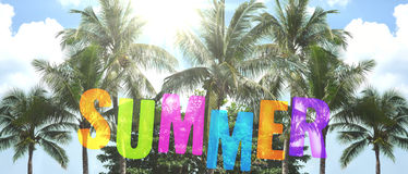 Summer background palms and blue sunny sky 3d illustration Stock Photo