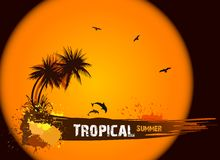 Summer background with palms. Vector Stock Photo