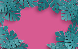 Summer background with paper cut out tropical leaves, exotic floral design for banner, flyer, invitation, poster, web site. Or greeting card. Paper cut style Stock Image