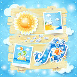 Summer background with paper elements Stock Photos