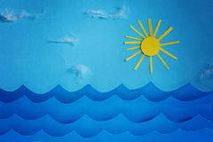 Summer background with paper.Sea wave and sun and sky Royalty Free Stock Images