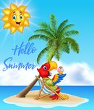 Summer background with parrot eating ice cream Royalty Free Stock Photography