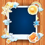 Summer background with photo frame and shells Stock Images