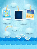 Summer background with photo frames Royalty Free Stock Photo