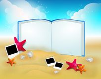 Summer background with photography and open book Royalty Free Stock Images