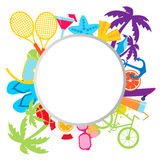 Summer background with place for text. Sports and beach accessories. Vector illustration Stock Photos