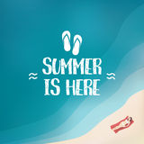 Summer background poster with sexy woman in bikini. Seasonal wallpaper of beach holiday. Royalty Free Stock Photography