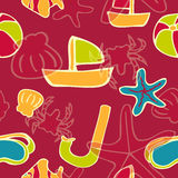 Summer background. Red happy seamless repeating pattern Stock Photography