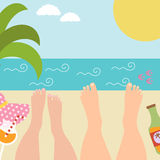 Summer background with with resting marital or. Couple in love at the seaside. Relax near the ocean. Vector illustrationr Stock Image
