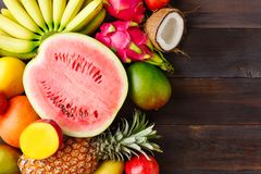 Summer background with ripe fruit stock images