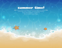 Summer background with sand and water royalty free stock images