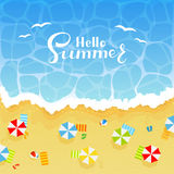 Summer background with sandy beach stock illustration