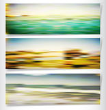 Summer background with sea and beach. Three summer tropical landscape with sea Stock Images