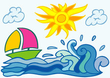 Summer background with sea boat sun and clouds Royalty Free Stock Images