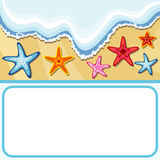 Summer background with sea stars Stock Images