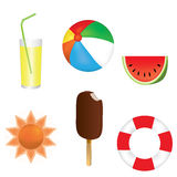Summer background. Set of summer icons glass with a drink and a straw sun cream melon ball inflatable life ring Stock Photo