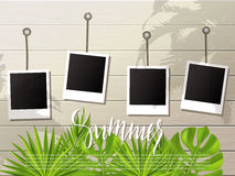 Summer background .Set of photo frames on the rope. Wooden wall and tropical plants, leaves. Vector illustration. Stock Image