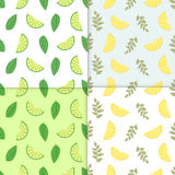 Summer background. Set of vector simple colorful seamless patterns - different fruits. Lime and lemon seamless pattern. With juicy limes and leaves. Cool Stock Photo