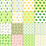 Summer background. Set of vector simple colorful seamless patterns - different fruits. Lime and lemon seamless pattern. With juicy limes and leaves. Cool Stock Photos