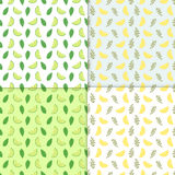 Summer background. Set of vector simple colorful seamless patterns - different fruits. Lime and lemon seamless pattern. With juicy limes and leaves. Cool Royalty Free Stock Images