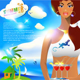 Summer background  with girl, standing with cocktails Stock Photography
