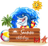 Summer background with shark and wooden sign Stock Image