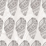 Summer background with shell elements. Repeating print background texture. Stock Image
