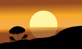 Summer background silhouettes Stock Photos