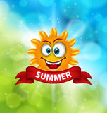 Summer Background with Smiling Sun. Illustration Summer Background with Smiling Sun - Vector Royalty Free Stock Photography