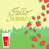 Summer background with strawberries Stock Photography