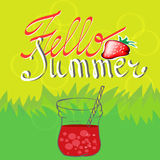 Summer background with strawberries. Summer colorful poster. Vector background with fruits. Hello summer handwritten text Stock Photography