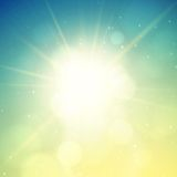 Summer background, summer sun with lens flare Stock Photos