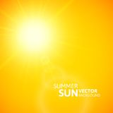 Summer background, summer sun with lens flare. Summer background with a summer sun burst with lens flare, orange vector illustration Stock Photos