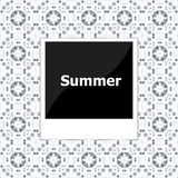 Summer background, summer words on empty photo frame, summer holiday Stock Photo