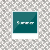 Summer background, summer words on empty photo frame, summer holiday Royalty Free Stock Images