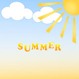 Summer. Background with sun and clouds. Vector Royalty Free Illustration