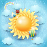 Summer background with sun and hot air balloons Royalty Free Stock Images