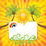 Summer background with sun and palm Royalty Free Stock Images