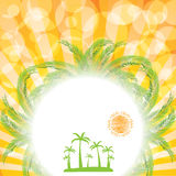 Summer background with sun and palm Royalty Free Stock Photos