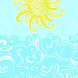Summer background, sun and waves Stock Image