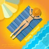 Summer background with sunbathe girl on beach near sea Stock Photos