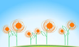 Summer background with sunflowers Stock Images