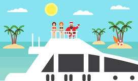 Summer background - sunny beach. Sea,palm tree and asian santa on yacht.Girls in bikinis.Merry Christmas and New Year. Modern flat vector illustration