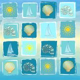 Summer background with suns, boats, shells and conchs in squares Stock Images