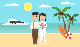 Summer background, sunset beach. The sea, yachts, palm trees and newly married couple. Wedding ceremony by the ocean Royalty Free Stock Images