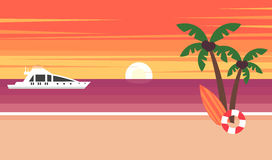 Summer background - sunset beach. The sun going down over the horizon is sunset. Sea, yacht and a palm tree. Vector Stock Photo
