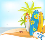 Summer background with surboard Stock Photos